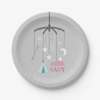 Bohemian Crib Mobile Modern Baby Shower Pink Paper Plate