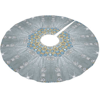 Bohemian crystal rhinestone Silver blue mandala Brushed Polyester Tree Skirt