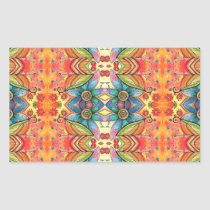 Bohemian Design Colorful Pattern Rectangular Sticker