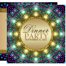 Bohemian Dinner Party | Gold Black Bright Colors Invitation