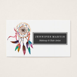Native american business cards templates zazzle bohemian dreamcatcher in vibrant watercolor paint business card colourmoves Choice Image