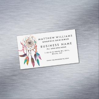 Bohemian Dreamcatcher in Vibrant Watercolor Paint Magnetic Business Card