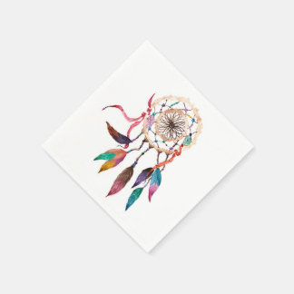 Bohemian Dreamcatcher in Vibrant Watercolor Paint Napkin