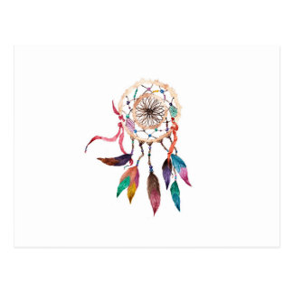 Bohemian Dreamcatcher in Vibrant Watercolor Paint Postcard