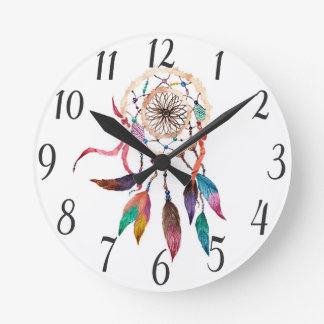 Bohemian Dreamcatcher in Vibrant Watercolor Paint Round Clock