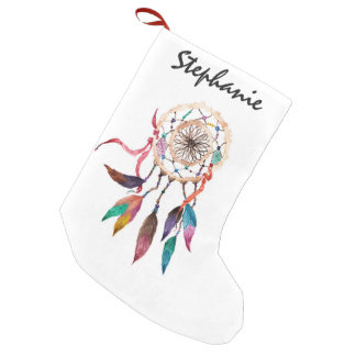 Bohemian Dreamcatcher in Vibrant Watercolor Paint Small Christmas Stocking