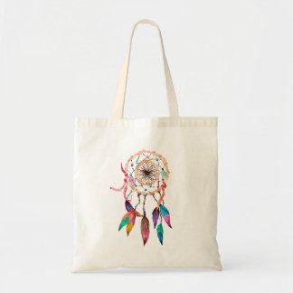 Bohemian Dreamcatcher in Vibrant Watercolor Paint Tote Bag