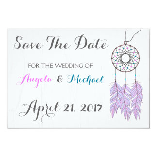 Bohemian Dreamcatcher Rustic Wedding Save The Date Card