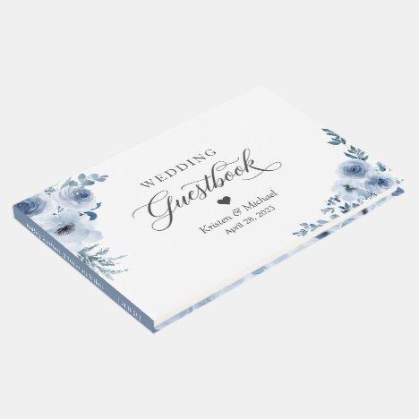 Bohemian Dusty Blue Floral Wedding Guest Book