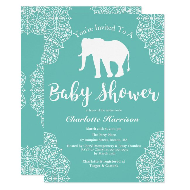 Bohemian Elegant Elephant Mandalas Baby Shower Invitation