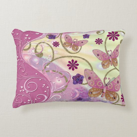 Bohemian Fairy Tale Folk Art Jeweled Accent Pillow