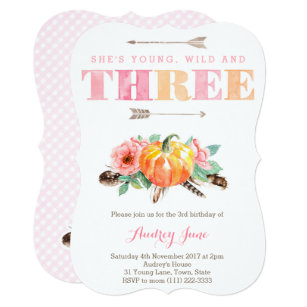 Bohemian Fall 3rd Birthday Party Cards For Girl