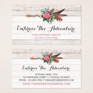 Bohemian Feather Arrow & Rose on Rustic White Wood Business Card