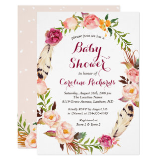 Bohemian invitations announcements zazzle bohemian feather boho floral wreath baby shower card stopboris Choice Image