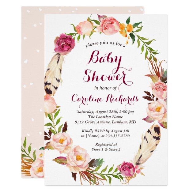 Bohemian Feather Boho Floral Wreath Baby Shower Card