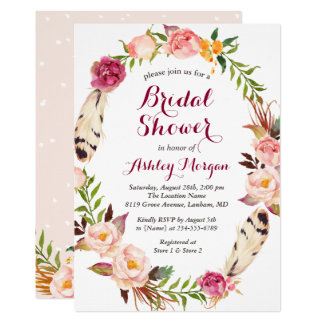 Bohemian Feather Boho Floral Wreath Bridal Shower Card