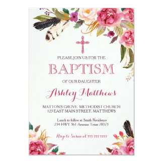 bohemian feather Floral BAPTISM Invitation
