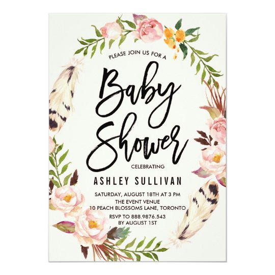 Bohemian feathers and floral wreath baby shower invitation zazzle bohemian feathers and floral wreath baby shower invitation filmwisefo
