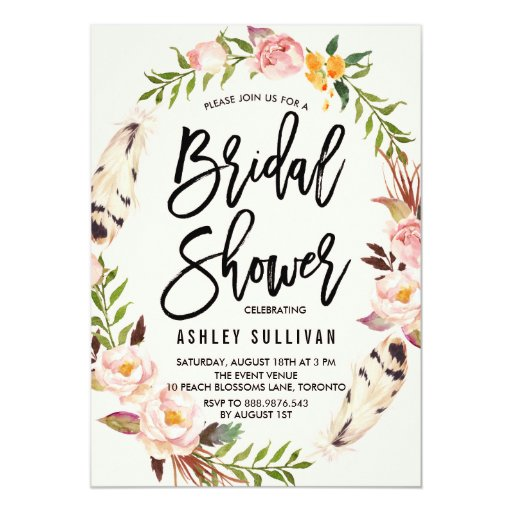 Bohemian Feathers and Floral Wreath Bridal Shower Card