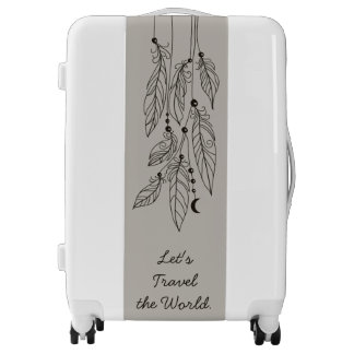 Bohemian Feathers Drawing  Cotton Taupe Luggage