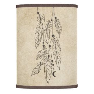 Bohemian Feathers Drawing Vintage Background Lamp Shade