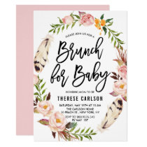 Bohemian Feathers Floral Wreath Baby Shower Brunch Card