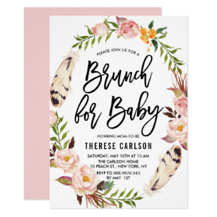 Bohemian Feathers Fl Wreath Baby Shower Brunch Invitation