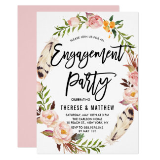 Bohemian Feathers & Floral Wreath Engagement Party Card