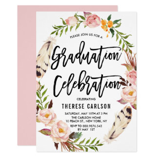Bohemian Feathers & Floral Wreath Graduation Party Card