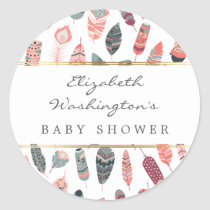 Bohemian Feathers Pattern Baby Shower Classic Round Sticker