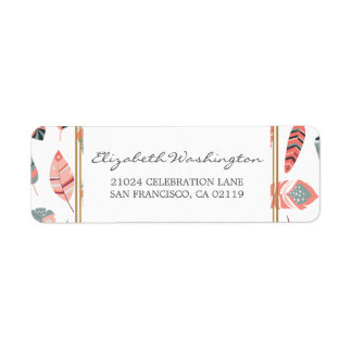 Bohemian Feathers Pattern Baby Shower Label