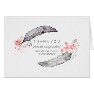 Bohemian Feathers Pink and Gray Wedding Thank You Card