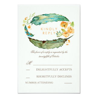 Bohemian Feathers Teal Wedding RSVP Cards