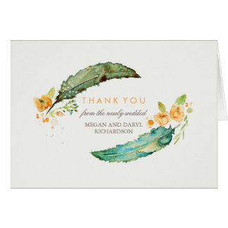 Bohemian Feathers Tribal Teal Wedding Thank You Card