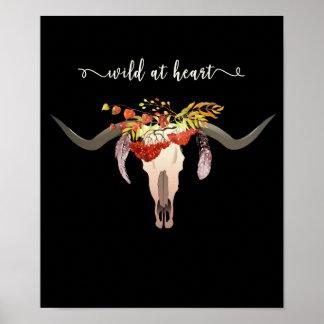 Bohemian Floral Antler Skull. Wild at Heart Poster
