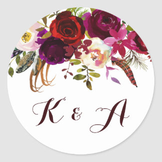 Bohemian Floral Autumn Wedding Monogram Classic Round Sticker