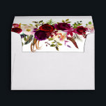 """Bohemian Floral Burgundy Wedding with Address Envelope<br><div class=""""desc"""">Bohemian style Envelope with return address featuring watercolor illustration of burgundy,  red and pink peonies and roses with feathers accent. This is perfect for autumn 