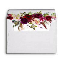 Bohemian Floral Burgundy Wedding with Address Envelope