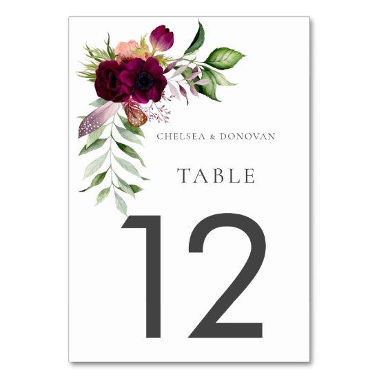 Bohemian Floral Dance Wedding Table Cards