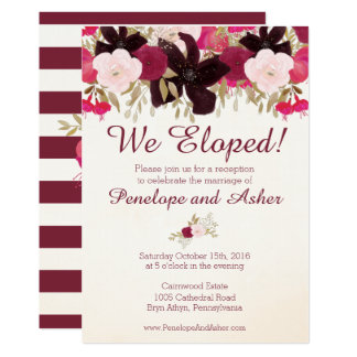 Bohemian Floral Elopement Reception Invitation