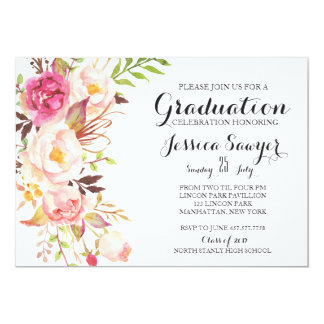 Bohemian Floral Graduation party Invitation