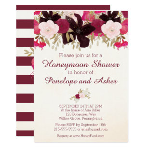 Bohemian Fl Honeymoon Shower Invitation