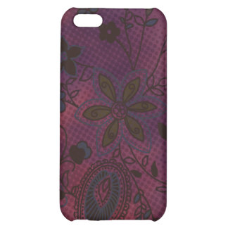 Bohemian Floral iPhone 4 Case (eggplant with teal)