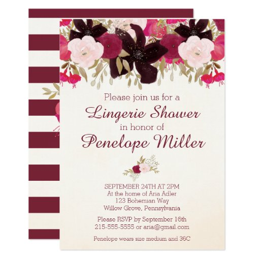 Bohemian Floral Lingerie Shower Invitation