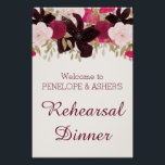 """Bohemian Floral Rehearsal Dinner Welcome Sign<br><div class=""""desc"""">This bohemian floral rehearsal dinner welcome sign is perfect for a boho theme event. The design features dark purple,  red and pink flowers.</div>"""