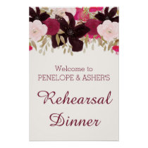 Bohemian Floral Rehearsal Dinner Welcome Sign