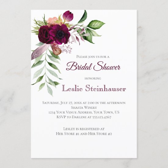 Bohemian Floral Romance Bridal Shower Invitation