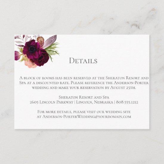 Bohemian Floral Romance Enclosure/Detail Cards