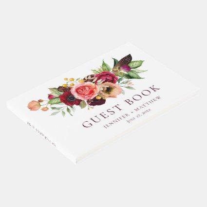 Bohemian Floral Romance Guest Book
