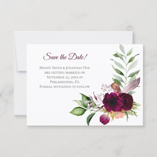 Bohemian Floral Romance Save The Date